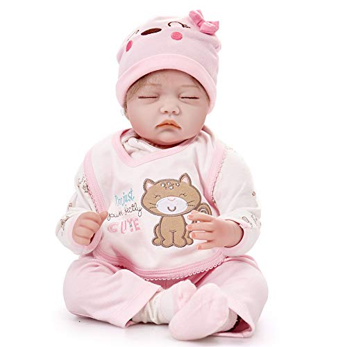 HiPlay 22' Reborn Baby Doll- Lifelike Realistic Design with Great Details-Cute Handmade Soft Silicone Vinyl Reborn Dolls Gifts Toys for Toddlers/Kids -Caroline