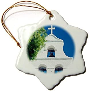 Promini USA California San Diego Mission San Diego Bell Tower Snowflake Ceramic Ornament Porcelain, 3 Inch