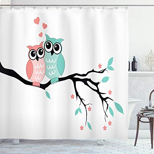 Whimsical Shower Curtain Design with Love Birds Perched on a Stylish Tree Branch