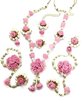 91ac21891 Savya Jewels Non-Precious Metal Traditional Pink Flower Floral Jewellery  with 1 Necklace, 2