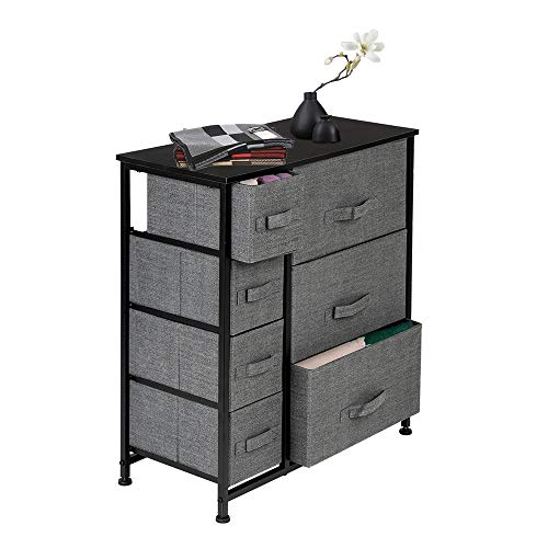 Newfly Small Dressers with Drawers Dresser with 7 Drawers - Furniture Storage Tower Unit for Bedroom Hallway Closet Office Organization - Steel Frame Wood Top Easy Pull Fabric Bins Grey