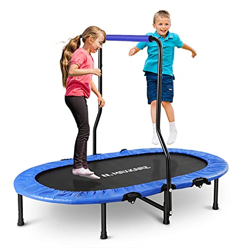 MaxKare Mini Trampoline for Kids Double Rebounder Foldable Fitness Trampoline Exercise Trampoline for Adult with Handrail & Safety Pad