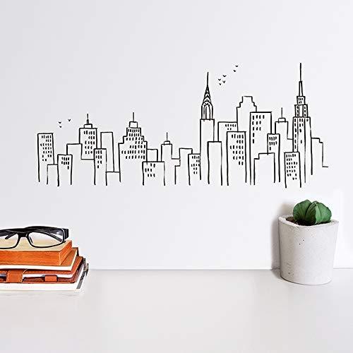 Draeger - Sticker Mural - Sticker New York pour décorer facilement votre intérieur - Adhésif Déco sérigraphié sur film polyester - L39 x H17 cm Skyline New York