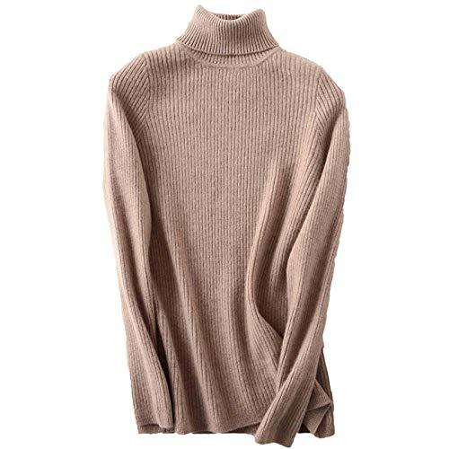 N-B Suéter de cuello alto otoño e invierno cálido y suave suéter de las señoras de cachemira suéter