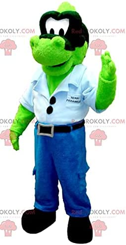 Green dinosaur REDBROKOLY Mascot in jeans with a blue shirt