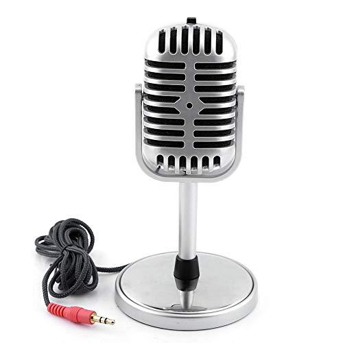 Micrófono Retro-Micrófono estéreo dinámico de Estilo Retro clásico con Cable de Audio de 3,5 mm para PC portátil