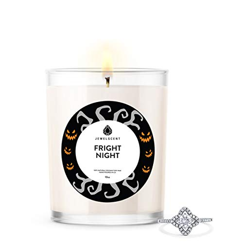 JewelScent Fright Night Signature Jewelry 10oz Candle with Surprise Ring | Dark and Nutty Scented Cedar, Amber, Sandalwood, Vanilla | Size 10
