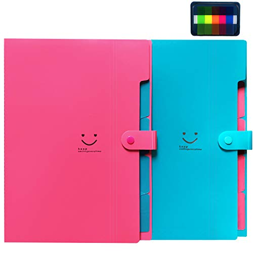 Initial heart 2 Pack Expanding File Folders Accordion Document Organizer A4 Letter Paper Placstic 5 Pockets Snap Closure folders with 100Pcs File Folder Labels for School Office Home(RoseRed-LakeBlue)