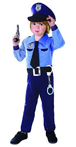 Ciao-Poliziotto costume bambino con muscoli pettorali imbottiti (Taglia 4-6 anni) Carnevale, Blu, 14799.4-6