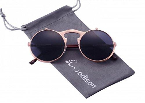 WODISON Occhiali da sole stile Steampunk Flip up lenti rotonde per gli uomini Le donne con borsa (Obiettivo grigio in oro rosa)