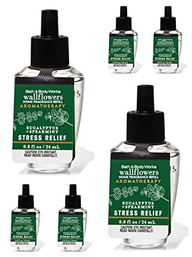 Bath & Body Works Eucalyptus Spearmint 6-Pack Wallflowers Sampler, 0.8 fl oz / 24 mL Each