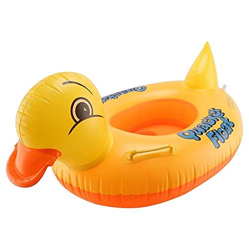 Anillo de natación, asiento de natación inflable de pato amarillo con mango para niños, boya de verano, balsa de agua, el mejor regalo para bebés principiantes