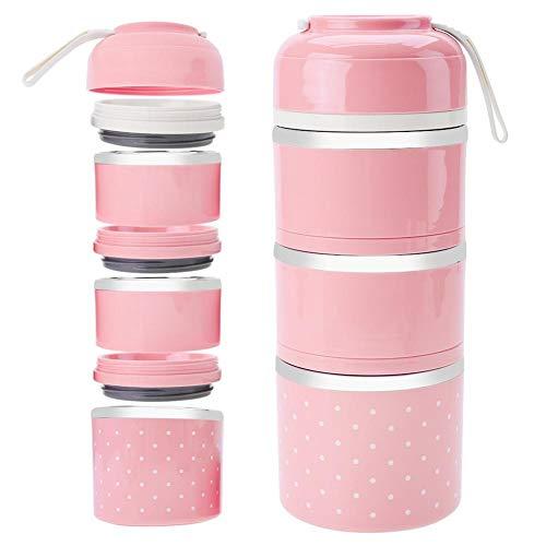3 Schicht stapelbar Isolierte Lunchbox Edelstahl Bento Box Isolierte Lunchpaket Lebensmittelbehälter für Mädchen(pink)