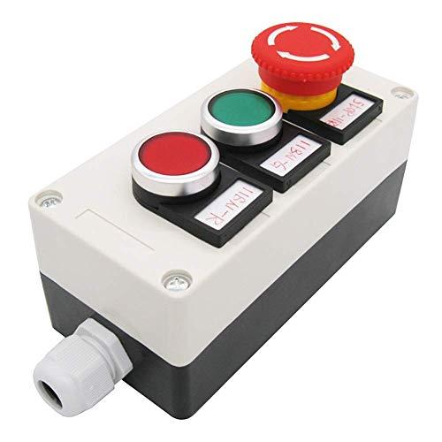 Taiss/Rot Grün Taster 440V 10A 1NC 1NO, Roter Pilz Not-Aus 1NC 1NO Verriegelnder Taster Station Box (Qualitätssicherung für 3 Jahre) hz-11ZS-GR