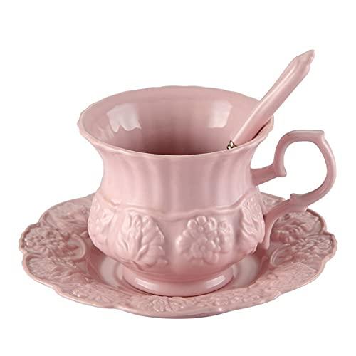 Theekopjes Elegante roze koffiekop schotel lepel set prinses keramische theekop 180 ml top porselein theekopje cafe…