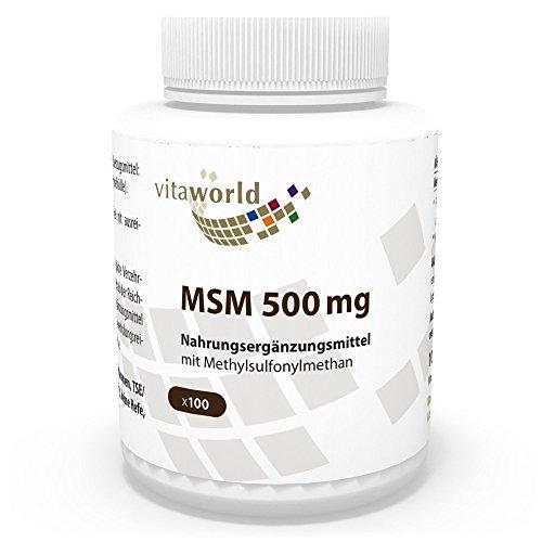 MSM 500mg 100 Cápsulas Metilsulfonilmetano - Vita World Farmacia Alemania