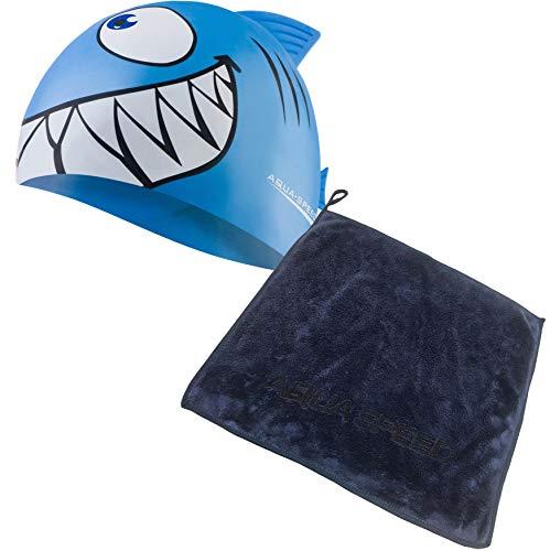 Aqua Speed Set Kids Swimming Cap + Mikrofaser Handtuch | Badekappe Mädchen & Jungen | Kinder Schwimmkappe | Silikon Bademütze | Badehaube Kind | Schwimmmütze | Hai | hellblau | Shark