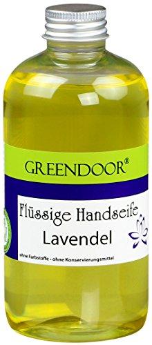 Greendoor Flüssigseife Nachfüller LAVENDEL 250ml, Naturkosmetik biologisch abbaubar, vegan aus Bio Ölen, ohne Parabene, handgesiedete Naturseife, flüssige Hand-Seife, natürlich ohne Tierversuche