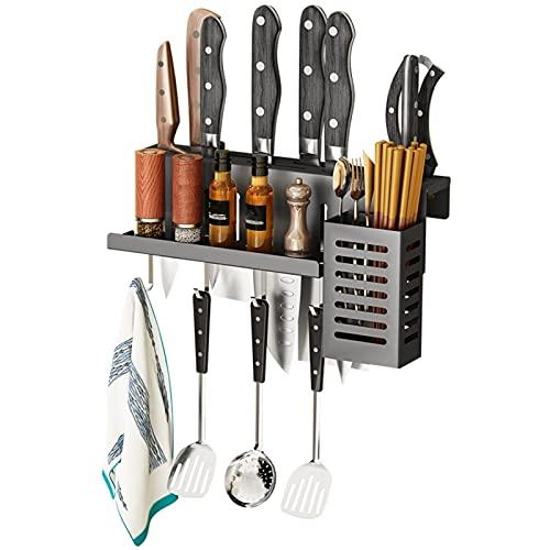 Tenedor de cuchillo de cocina multifuncional para el hogar, bloque de cuchillos sin cuchillos, fácil instalar soporte montado en la pared, se puede usar como un bastidor de cuchillos, estante de cocin