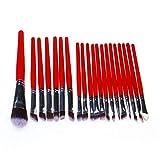 WEQQ 20 pcs/Set Set de Pinceles de Maquillaje Herramientas de Belleza Sombra de Ojos mejillas Alta luz Blanca (Rojo)