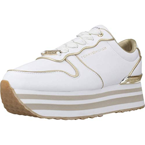 Tommy Hilfiger Damen METALLIC Flatform Sneaker, Weiß (White Ybs), 41 EU