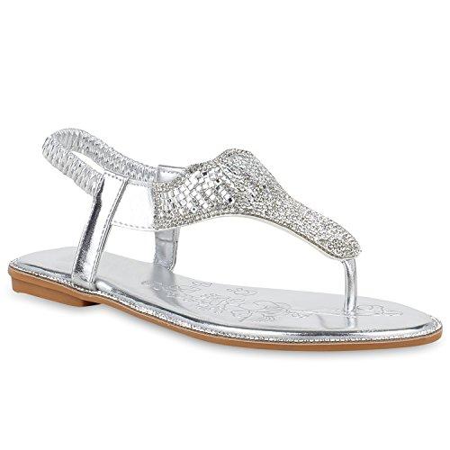 Damen Sandalen Zehentrenner Strass Metallic Flache Freizeit Schuhe 153654 Silber Strass 37 Flandell