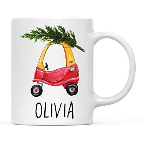 Taza de café con nombre personalizado para vacaciones, invierno, Navidad, regalo, Little Tykes, coche rojo para niños con árbol, paquete de 1, Kiddie Tikes, cupé para niños pequeños, novedad, cumpleañ