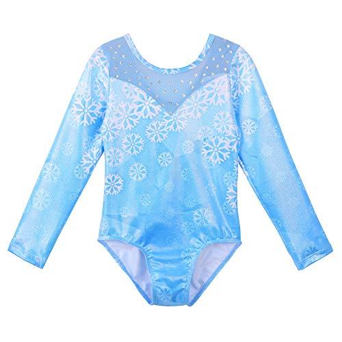 Huaaniue Mädchen-Gymnastikanzug mit kurzen Ärmeln, Kinder, B142, A Longsleeve Schneeflocke Blau, 3-4Y(Tag No.4A)