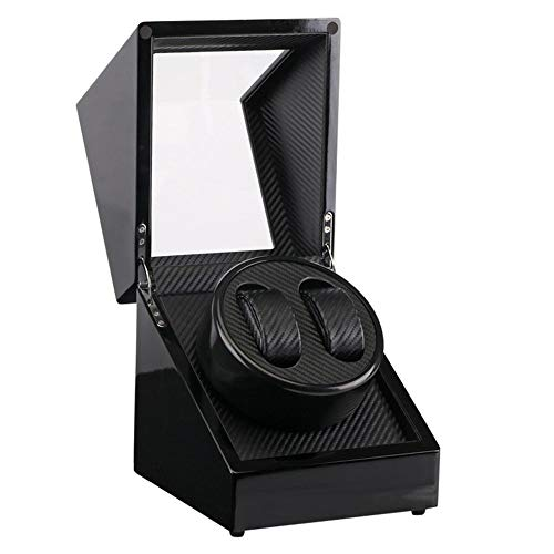Global Use Plug Clock 2 Slots Lacquer Wood Rotate Watch Winder Display Box Silent Motor Display Clock Winder Watch Case