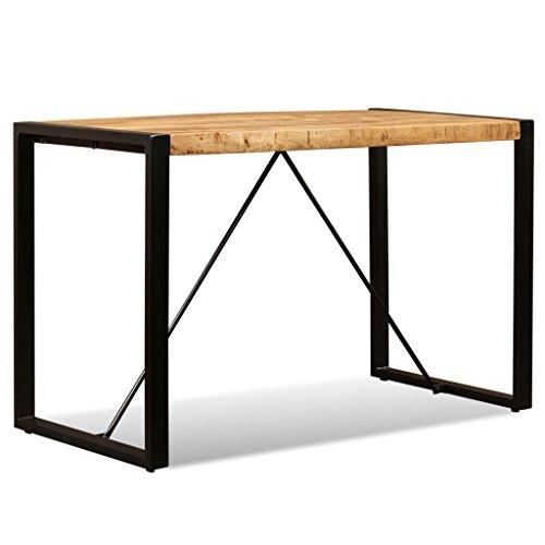 Vislone Schreibtisch Retro Stil Massiv Mangoholz Tisch mit Stahlbeine Esszimmertisch 120 x 60 x 76 cm
