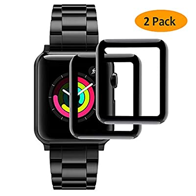 Hianjoo Tempered Glass Screen Protector 3D Curved Full Coverage Anti-Scratch Compatible with Apple Watch 42mm Series 3/2/1 - Black Edge [2-Pack]