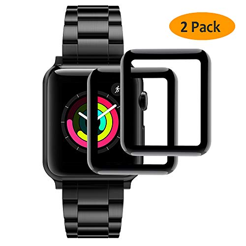 Hianjoo [2-Pack] Vetro Temperato Compatibile per Apple Watch Pellicola Proteggi Schermo 42mm [3D Curved Full Coverage], Anti-Graffio, Bubble Free per Apple iWatch 42mm Series 3/2/1 - Nero