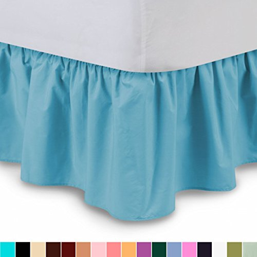 Ruffled Bedskirt (Queen, Aqua) 18 Inch Bed Skirt with...