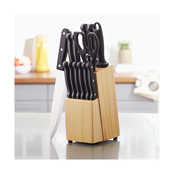 Amazon Basics - Juego de cuchillos de cocina y soporte (14 piezas)