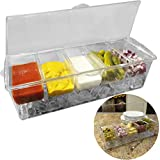 Evelots Condiment Ice Serving Tray-Handle-5 Detachable 2 Cup Container-BBQ/Party