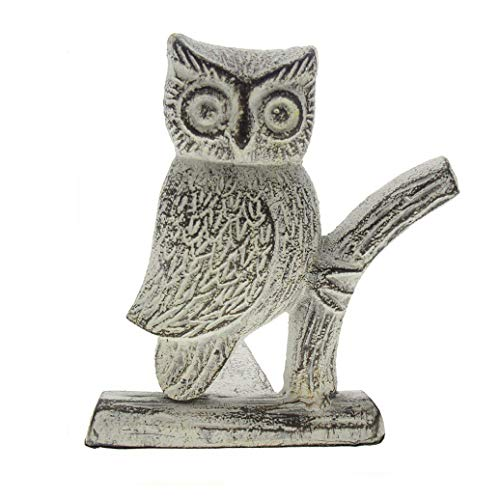 Cast Iron Owl Door Stop | Decorative Door Stopper Wedge | with Padded Anti-Scratch Felt Bottom | Vintage Design | 15.87x15.24x16.51cm by Comfify (Antique White)