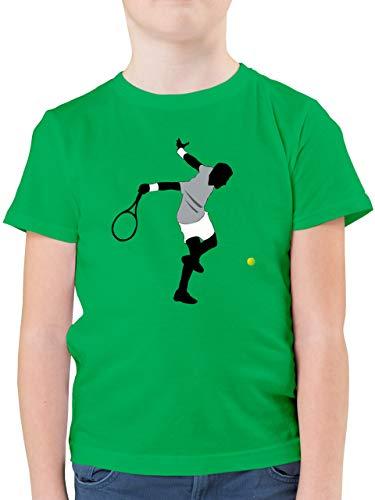 Sport Kind - Tennis Squash Spieler - 128 (7/8 Jahre) - Grün - Tennis Shirt Kinder - F130K - Kinder Tshirts und T-Shirt für Jungen