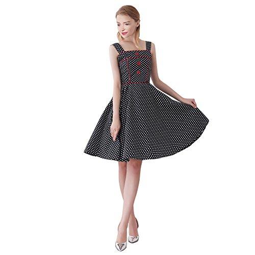 FiftiesChic - Vestido de cóctel vintage para mujer de los años 50 Negro Negro + pequeños puntos blancos. 40