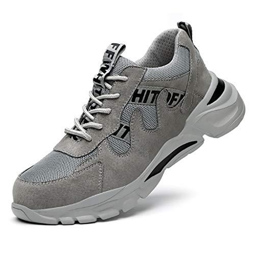 WggWy Zapatillas de Seguridad para Trabajos para Mujeres para Hombre, Zapatos Protectores Anti Pendientes Anti Pendientes Anti apuñalos para Mujer,Gris,43