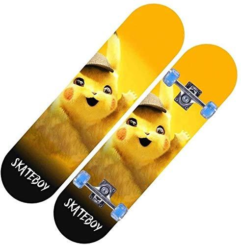 ZXL Komplette Skateboards, Standard Skateboard, Penny Cruiser Board, für Anfänger Starter Kinder Jungen Mädchen Teenager, 72X20X10cm Pokémon Pikachu Muster