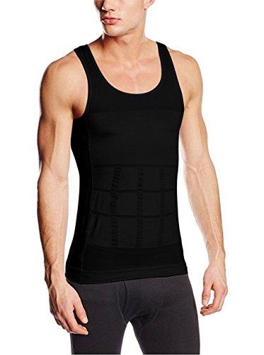 Sodacoda Herren Körperformendes Bauch Weg Kompression Unterhemd (Schwarz L)