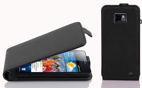 Cadorabo Hülle für Samsung Galaxy S2 / S2 Plus in Oxid SCHWARZ - Handyhülle im Flip Design aus Strukturiertem Kunstleder - Case Cover Schutzhülle Etui Tasche Book Klapp Style
