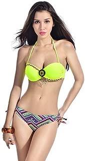 BEESCLOVER Swimwear Style Pattern Women Push Up Bikini Set Folk Decoration Vintage Bandeau Swimsuit Knit Strape Female Multi L