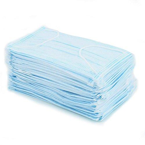 Masques de protection jetables, usage médical, avec lacets, bleu clair, 50 pièces