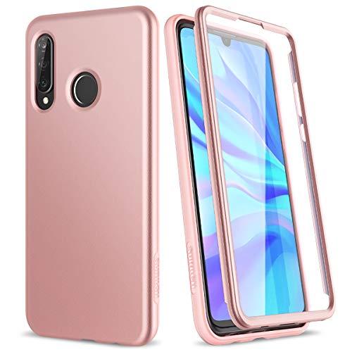 SURITCH Kompatibel mit Huawei P30 lite Hülle 360 Grad Hüllen mit Integriertem Displayschutz Silikon Komplettschutz Handyhülle Schutzhülle für Huawei P30 lite Rosegold