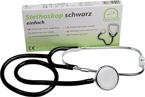 Medi-Inn Flachkopf Stethoskop | ultraleicht, nickelfrei | deutliche Geräuschübertragung | flexibler Y-Schlauch mit Bruststück | schwarz