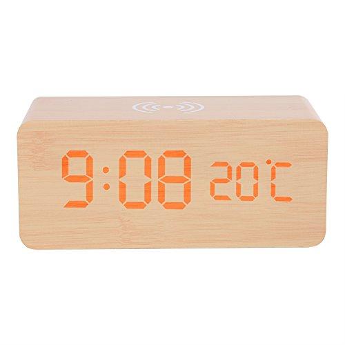 Reloj Despertador Digital Reloj De Alarma Digital De Madera con Carga Inalámbrica, Control De La Cama, Control De Voz, Pantalla LED Grande con Humedad De Temperatura para La Oficina De Dormitorio