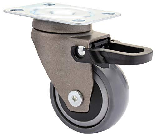 WAGNER Design - 3C - Lenkrolle/Apparaterolle/Möbelrolle - grau, Softlauffläche, Durchmesser 50 mm, Total-Feststeller, Kugellager, Tragkraft 50 kg - 01235301