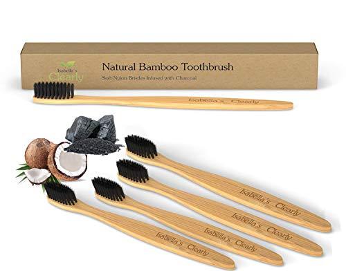 Clearly BAMBOO Cepillo Bambu Dental I Suave y Flexible con Cerdas de Nylon Infundidas de Carbon, sin BPA I Biodegradable I Cepillos Ecologicos (Set of 4)