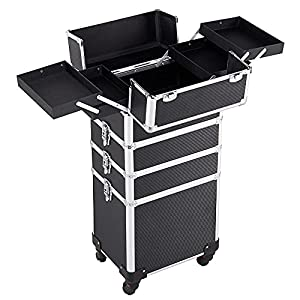 a55a3e2eea  93 Yaheetech Rolling 4 in 1 Makeup Case Cosmetic Trolley Salon Trolley  Aluminum Black
